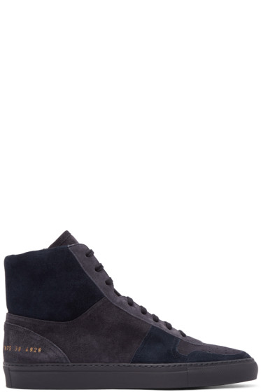 Robert Geller - Navy Suede Common Projects Edition Bball Sneakers