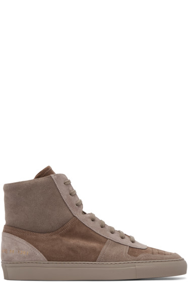 Robert Geller - Taupe Suede Common Projects Edition BBall Sneakers