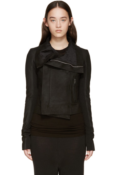 Rick Owens - Black Leather Biker Jacket