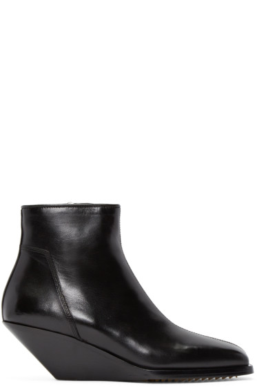Rick Owens - Black Leather Sliver Boots
