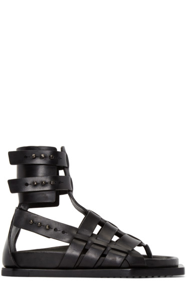 Rick Owens - Black Leather Gladiator Sandals