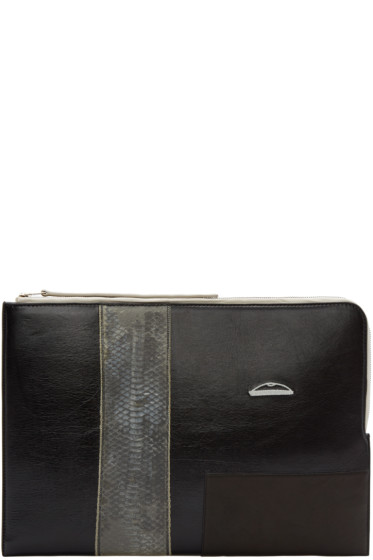 Rick Owens - Black Leather & Snakeskin Large Pouch