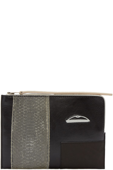 Rick Owens - Black Leather & Snakeskin Small Pouch
