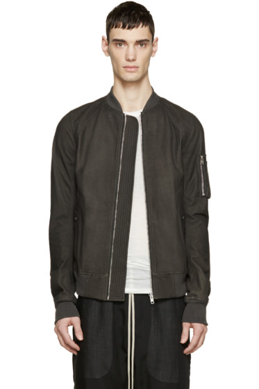 Rick Owens - Grey Leather Bomber Jacket