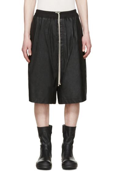 Rick Owens - Black Matte Leather Shorts