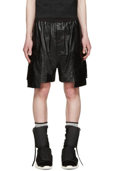 Rick Owens - Black Leather Cargo Shorts