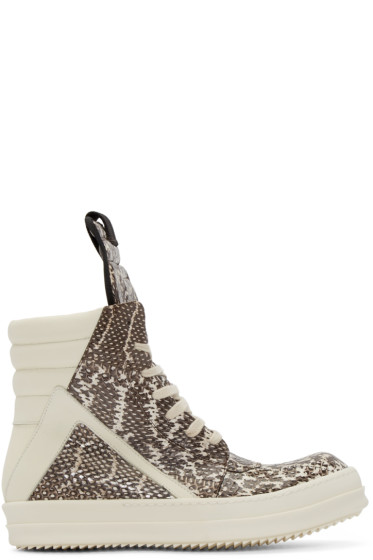 Rick Owens - Grey Snakeskin Geobasket High-Top Sneakers