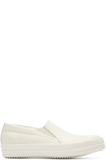 Rick Owens - White Leather Boat Sneakers