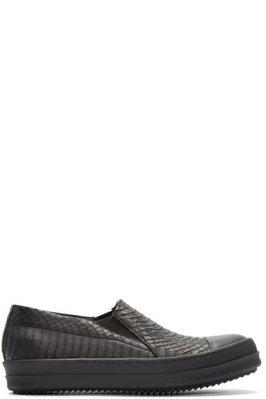 Rick Owens - Black Snakeskin Boat Sneakers