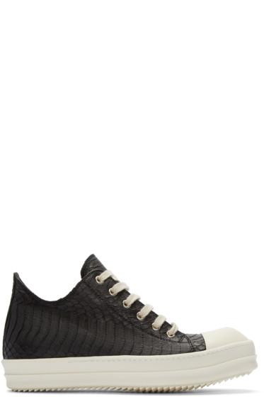 Rick Owens - Black Snakeskin Low-Top Sneakers