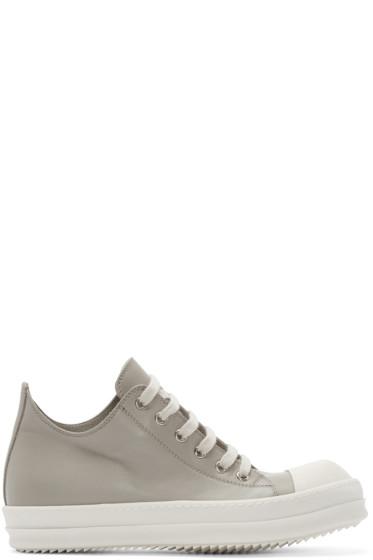 Rick Owens - Beige Leather Low-Top Sneakers