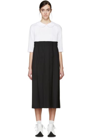 Comme des Garçons - White & Black Pleated Dress