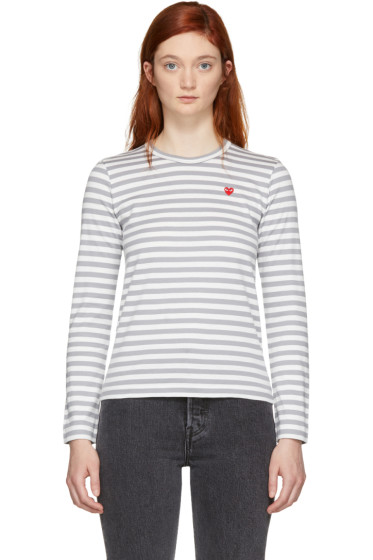 Comme des Garçons Play - White & Grey Striped Heart Patch T-Shirt