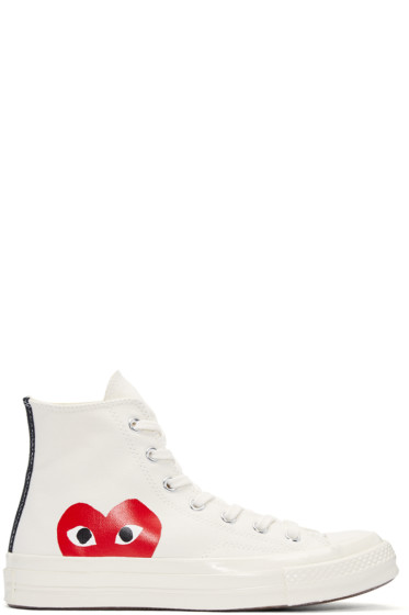 Comme des Garçons Play - Ivory Half Heart Converse Edition High-Top Sneakers