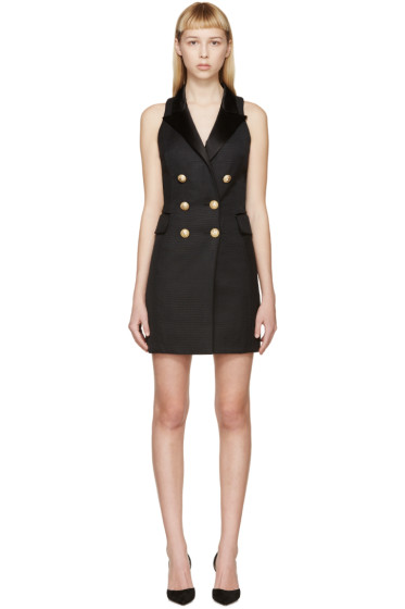 Balmain - Black Peaked Lapel Dress