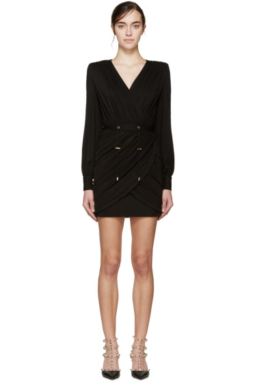Balmain - Black Draped Dress