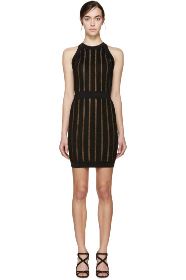 Balmain - Black Striped Stretch-Knit Dress