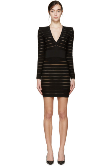 Balmain - Black Deep V Bandage Dress