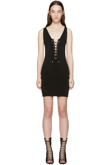 Balmain - Black Rib Knit Lace-Up Dress