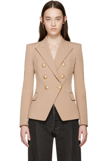 Balmain - Tan Double-Breasted Blazer