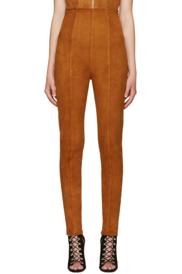 Balmain - Brown Suede High-Rise Trousers