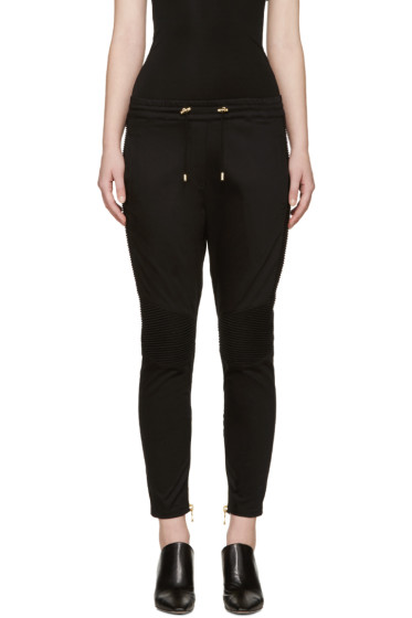 Balmain - Black Drawstring Biker Trousers