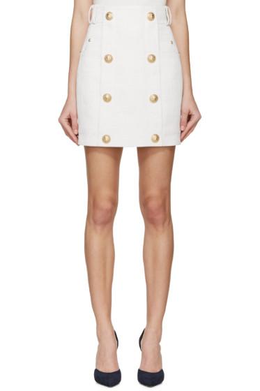 Balmain - Off-White Linen Skirt