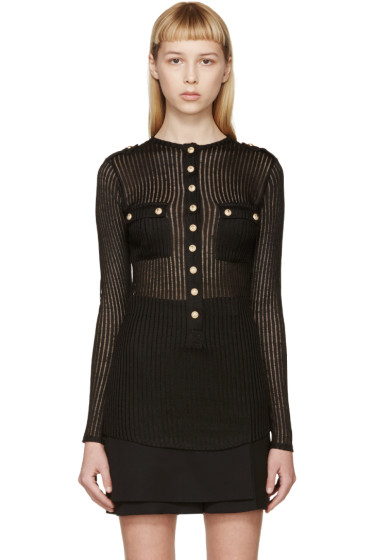 Balmain - Black Ribbed Sweater