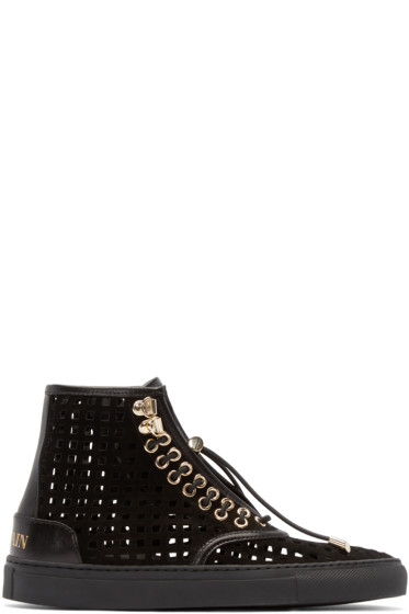 Balmain - Black Suede Perforated High-Top Sneakers