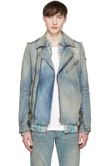 Balmain - Blue Denim Biker Jacket