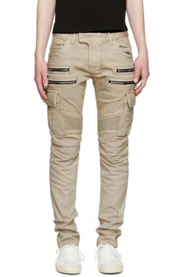 Balmain - Beige Biker Cargo Pants