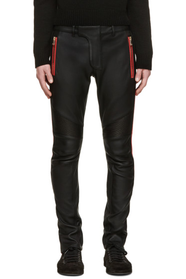 Balmain - Black Leather Trousers
