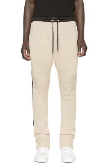 Balmain - Beige & Black Knit Biker Lounge Pants