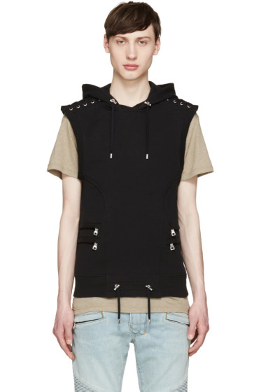 Balmain - Black Sleeveless Lacing Hoodie