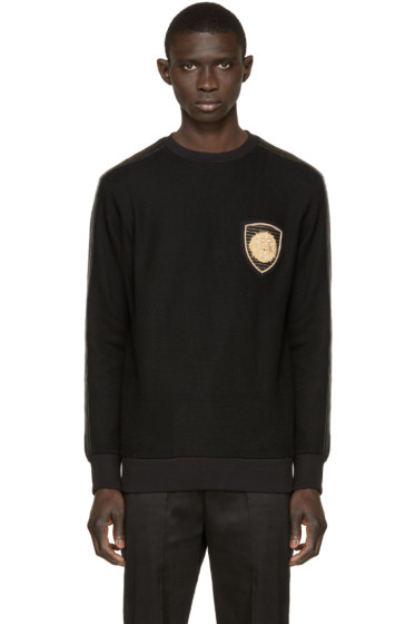 Balmain - Black Embroidered Patch Pullover