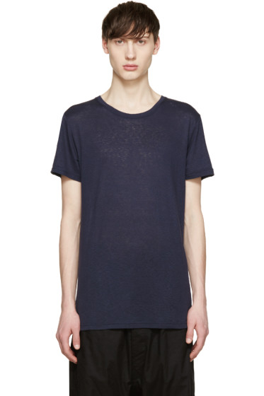 Balmain - Navy Raw Silk T-Shirt