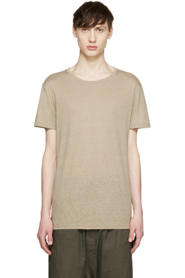 Balmain - Tan Raw Silk T-Shirt