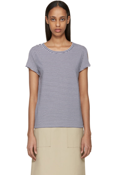 A.P.C. - Navy & White Striped Theo T-Shirt