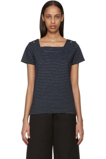 A.P.C. - Navy Striped East Coast T-Shirt