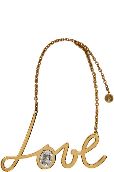 Lanvin - Gold & Crystal Love Necklace
