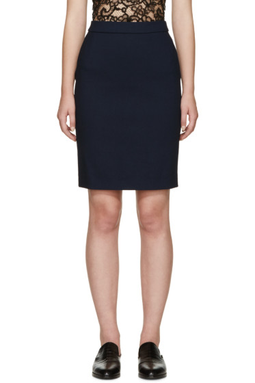 Lanvin - Navy Woven Pencil Skirt