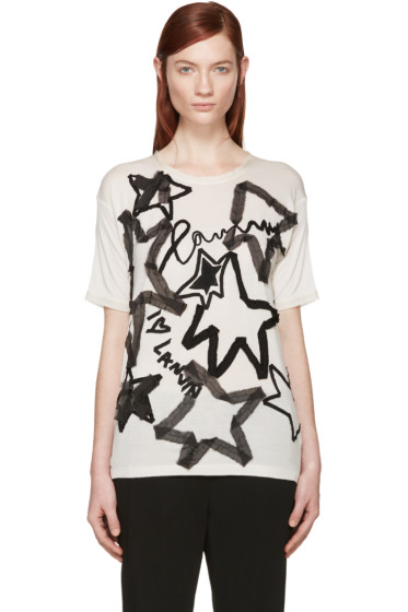Lanvin - Beige Star Appliqué T-Shirt