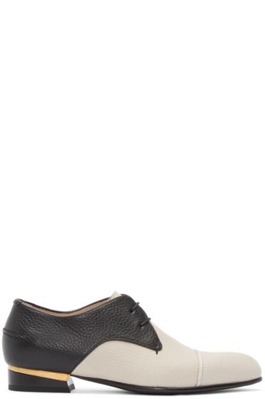 Lanvin - Black & Beige Leather Derbys