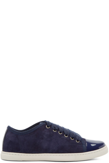 Lanvin - Navy Suede & Patent Leather Sneakers