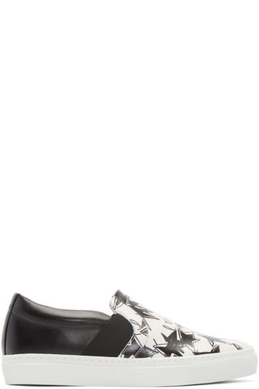 Lanvin - Black & White Star Slip-On Sneakers