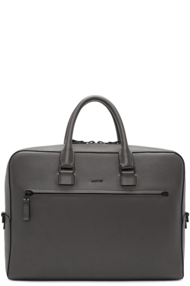 Lanvin - Taupe Grained Leather Briefcase