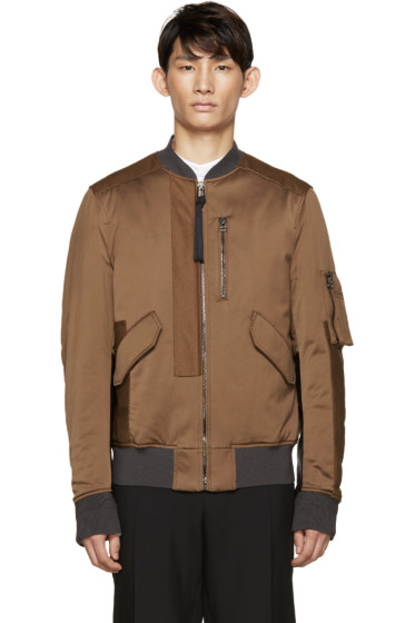 Lanvin - Brown Washed Satin Bomber Jacket