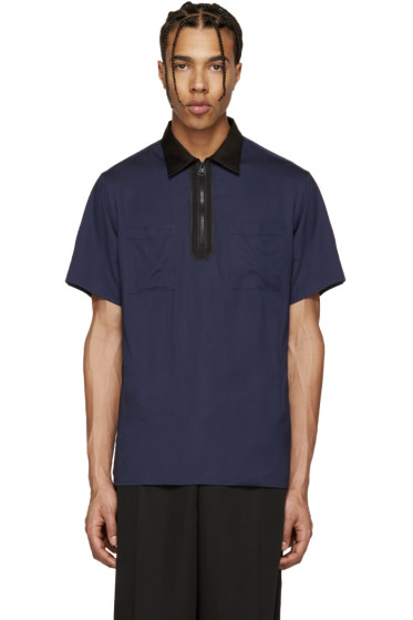 Lanvin - Navy Zip Colorblock Polo