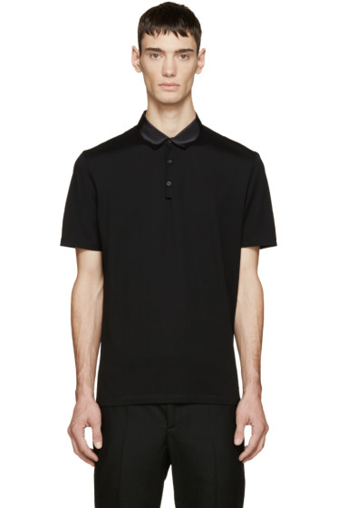 Lanvin - Black Grosgrain Trim Polo