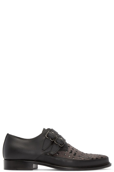 Lanvin - Black Woven Monkstrap Shoes